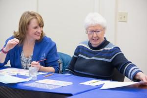 """Marietta """"Ed"""" and her mom Eileen share a nice moment during art class at Alzheimer's Resource of Alaska."""